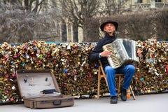 Parisian Accordionist Stock Photo