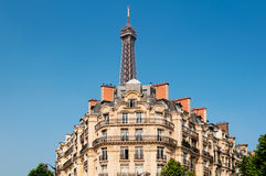 Parisian Apartments and the Eiffel Tower. Royalty Free Stock Photography