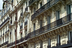 Parisian architecture. Traditional facade and balconys of parisian architecture Stock Images