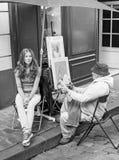 Parisian Artist and Model Stock Photo