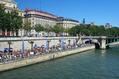 Parisian beach. On banks of the River Seine in Paris, France Royalty Free Stock Photos