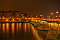 The Parisian bridge Pont Neuf at night Royalty Free Stock Photos