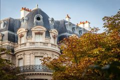 Parisian building. View of a Parisian building with mansard roof Stock Photo