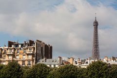 Parisian buildings and Eiffel Tower Stock Photos
