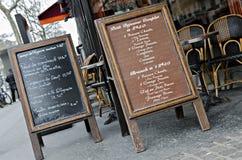 Parisian Cafe menu. Traditional Menu of  cafe in Paris , France Stock Image
