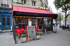 Parisian cafe at a street corner Royalty Free Stock Image