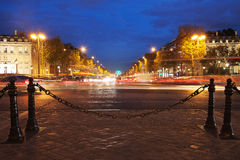 Parisian Champs Elysees in evening,. Evening time in avenue Champs Elysees, Paris, France royalty free stock image
