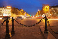 Parisian Champs Elysees in evening, Royalty Free Stock Images