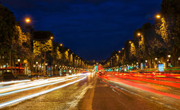Champs Elysees, Paris, France at night Royalty Free Stock Images