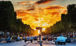 Parisian Champs Elysees Royalty Free Stock Images