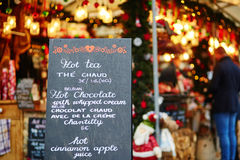 Parisian Christmas market. Menu with list of Christmas treats on Parisian Christmas market Stock Images