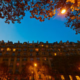 Parisian city buildings at night Royalty Free Stock Photo