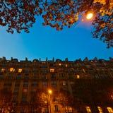 Parisian city buildings at night Royalty Free Stock Photo