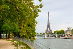 Parisian cityscape with Eiffel tower Stock Photos