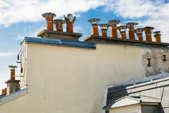 Parisian Clay Chimney Pots, Blue Sky, Clouds Stock Image