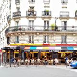 Parisian colourful Bistro terrace Royalty Free Stock Image