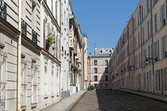 Parisian courtyard paved royalty free stock photo