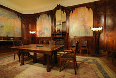 Parisian Dining Room. The Wisteria Dining Room was taken from a Parisian apartment that was once near the foot of the Eiffel Tower. Now on display at the Stock Image