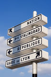 Parisian directions. Parisian street orientation signs - Paris, France stock photo