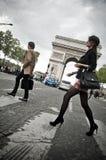 parisian fashion woman on champs Elysées Royalty Free Stock Image