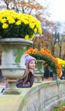 Parisian girl in the Gardens of Luxembourg Stock Image