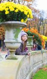 Parisian girl in the Gardens of Luxembourg Royalty Free Stock Photo