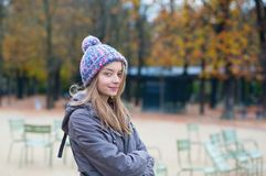 Parisian girl in the Gardens of Luxembourg Stock Photo