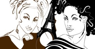 Parisian Girls. Graphic illustration of a female and Eifel tower Royalty Free Stock Photo