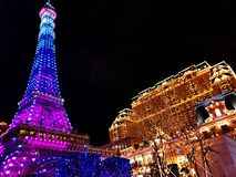 The Parisian Hotel and Eiffel tower in the night