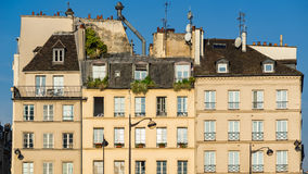 Parisian houses and rooftops in the Latin Quarter of Paris, France Royalty Free Stock Photo