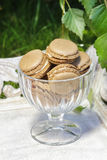 Parisian macarons in glass goblet Royalty Free Stock Photography