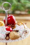 Parisian macarons, raspberries and other delicacy. Closeup stock image
