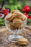Parisian macaroons in christmas setting Royalty Free Stock Photos
