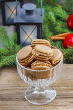 Parisian macaroons in christmas setting Stock Photography