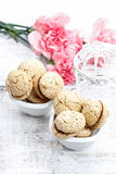 Parisian macaroons on white wooden table Royalty Free Stock Photography