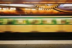 Parisian metro at the metro station Stock Photo