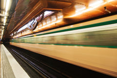Parisian Metro in motion blur Royalty Free Stock Photography