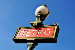 Parisian metro sign Stock Images
