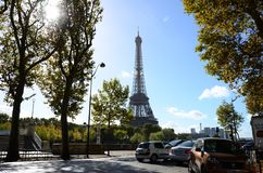 Paris Eiffer Tower Perfect Day. Parisian Perfect Day in Paris, Eiffel Tower View, threes and seine river Royalty Free Stock Image