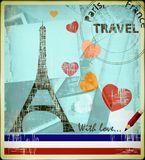 Parisian postcard. With Eiffel Tower and the hearts Stock Photo