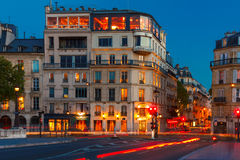 Parisian restaurant Silver Tower in night. Stock Photography