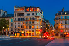 Parisian restaurant Silver Tower in night. Royalty Free Stock Photo