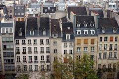 Parisian roofs. Typical parisian buildings and roofs. Taken from the centre Georges Pompidou Stock Photos