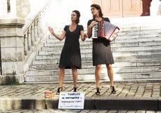 Parisian street actors. Royalty Free Stock Photos