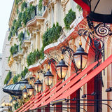 Parisian street decorated for Christmas Stock Image