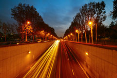 Parisian street at night Stock Photography