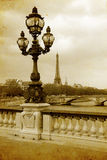 Parisian streets picture in vintage painting style Stock Photo