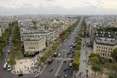 Parisian streets. View from The Arc de Triomphe in Paris Stock Photos