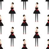 Parisian style girl in black dress seamless pattern on white background. Stock Photo