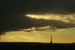 Parisian sunset. Sunset in Pais showing Eiffel Tower. Cityscape, panorama Stock Photos